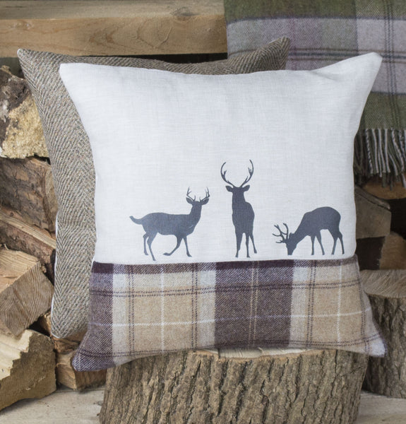 Chocolate and Sand ' Deer Family ' Tweed Cushion
