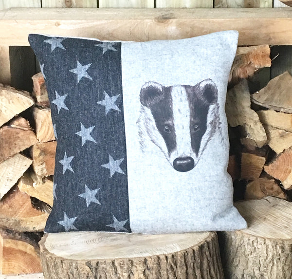 ' Mr Badger ' Stars Tweed Cushion