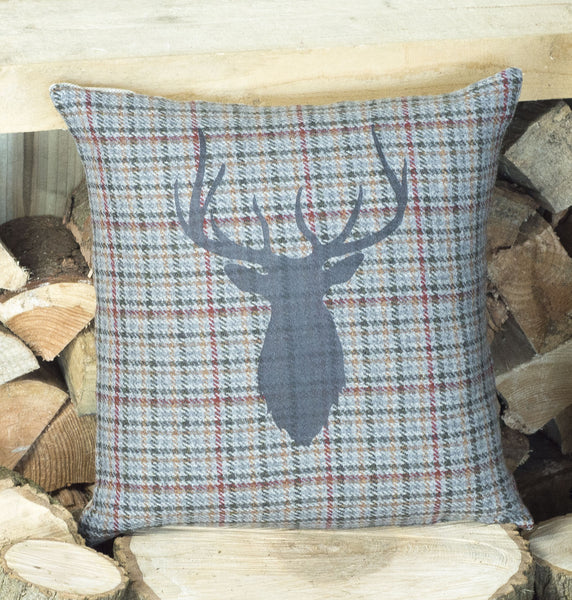 ' Mixed Check Tweed Stag ' Cushion