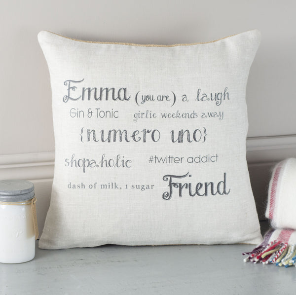 ' Friend ' Personalised Gift Cushion