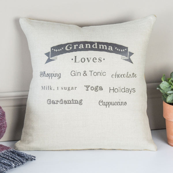 ' Grandma Loves ' Personalised Linen Cushion