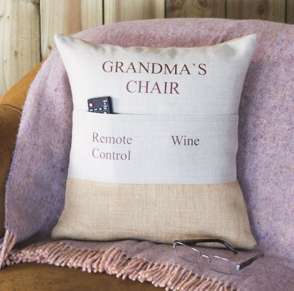 ' Grandma's Chair ' Personalised Pocket Cushion