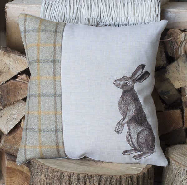 Mustard Tweed Gazing Hare Cushion
