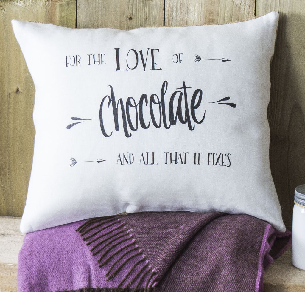 ' Love of Chocolate ' Linen Gift Cushion