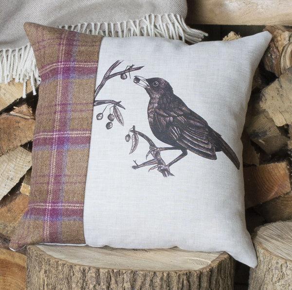 Mr Blackbird Tweed Cushion