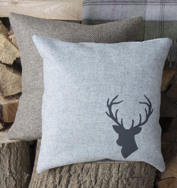 Natural GreyTweed Stag's Head Cushion