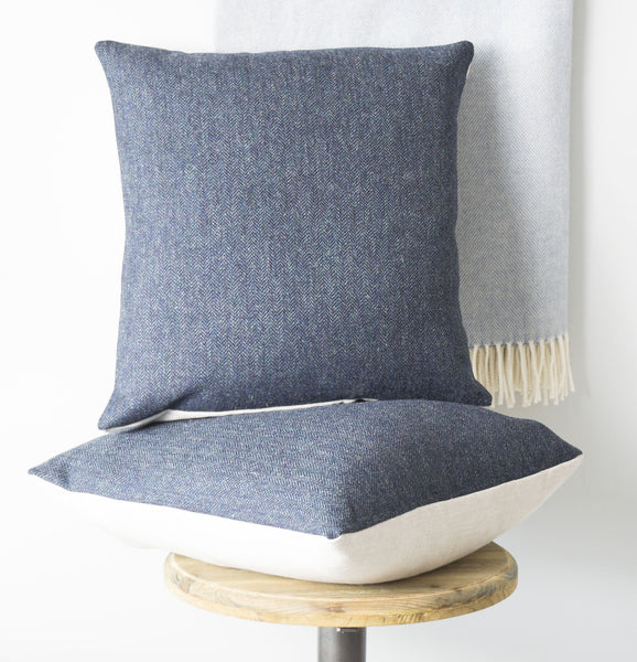 Navy Blue Lambswool Tweed and Linen Cushion