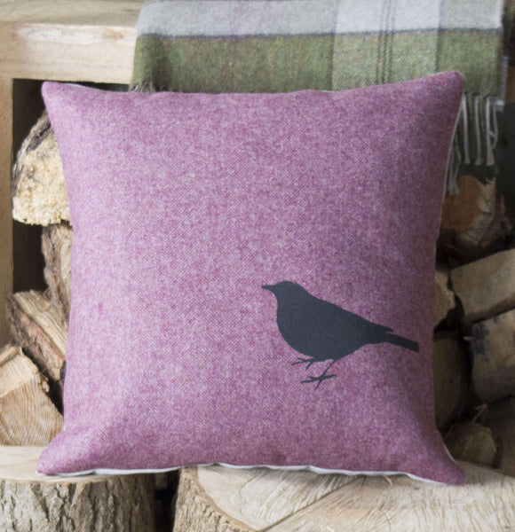 ' Blackbird ' Raspberry Tweed Cushion