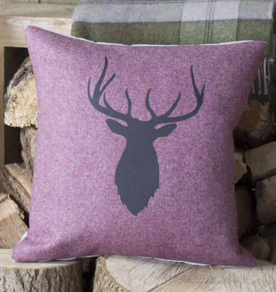 ' Raspberry Tweed Stag ' Cushion