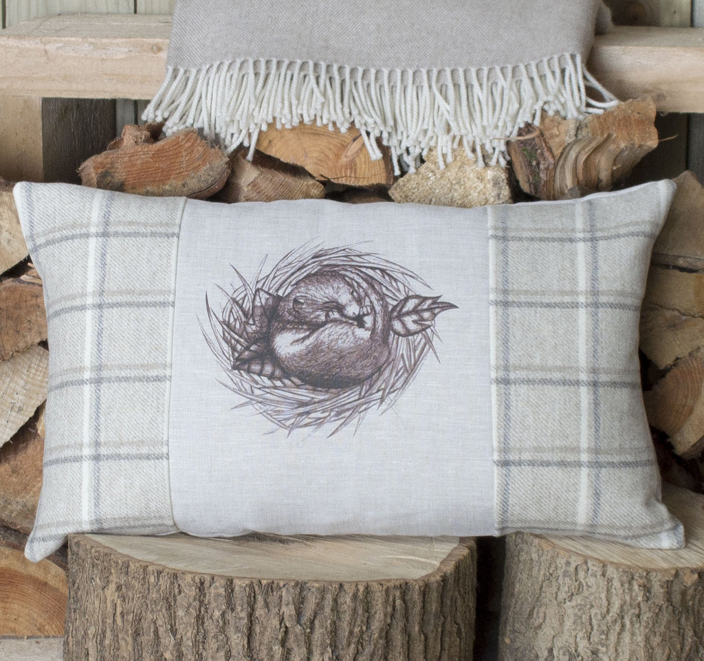 Oatmeal Sleeping Dormouse Tweed Cushion