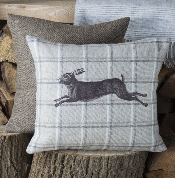 Oatmeal and Grey Check Hare Cushion