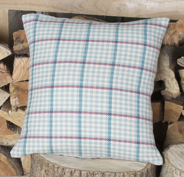 Pale Blue Check Tweed Cushion
