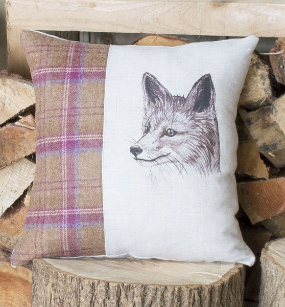 Plum Mr Fox Tweed Cushion