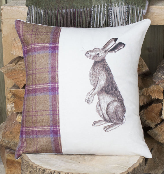 Plum Tweed Gazing Hare Cushion