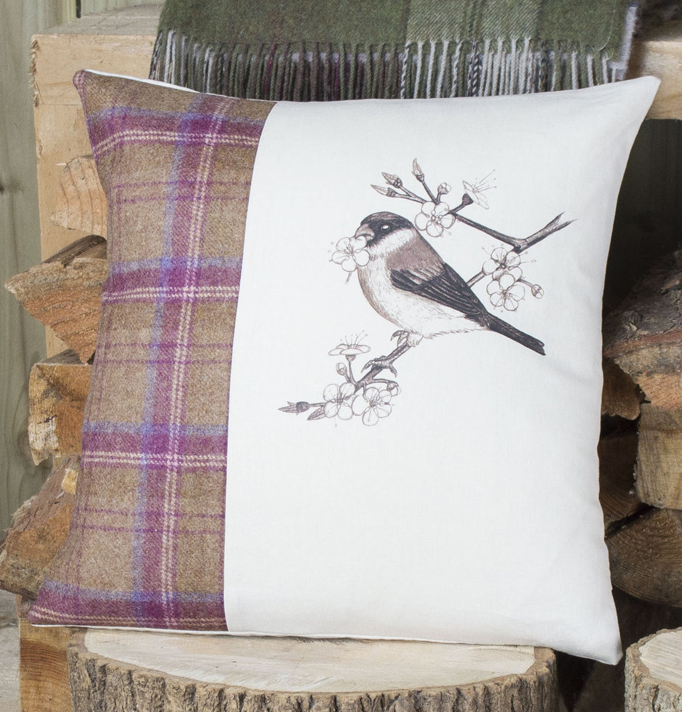 Plum Tweed Bullfinch Cushion