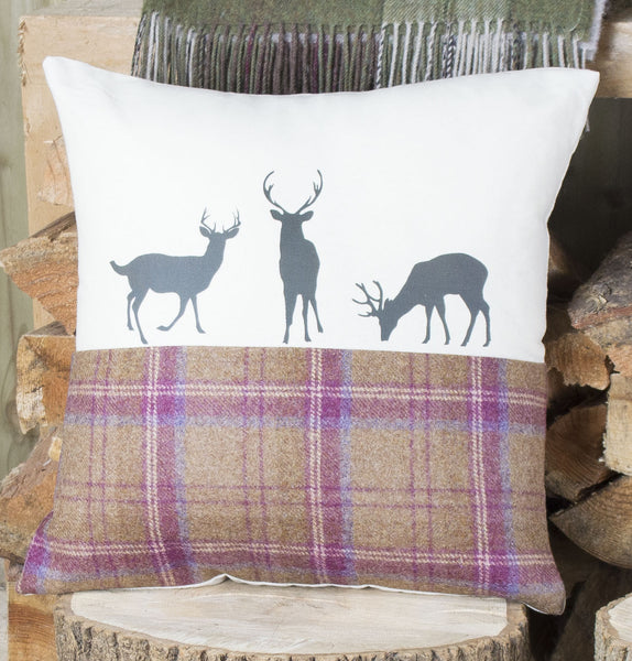 Plum Tweed Deer Family Cushion