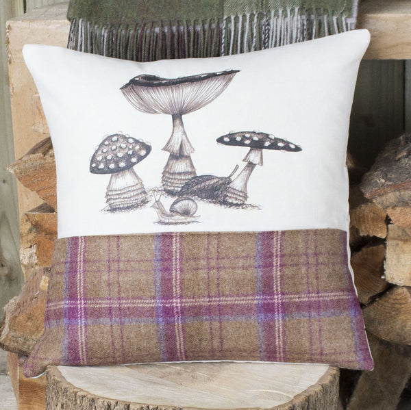 Plum Tweed Funghi Cushion