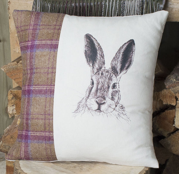 Plum Tweed Mr Hare Cushion