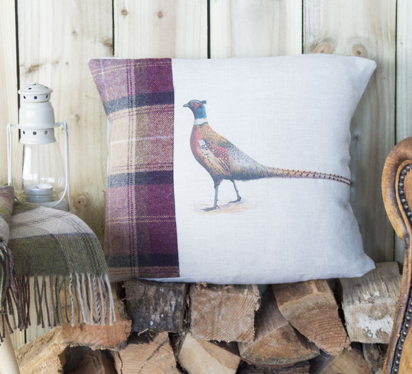 Pheasant Plum Tweed and Linen Cushion
