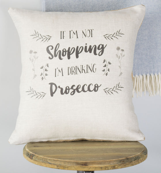 Shopping and Prosecco Linen Gift Cushion