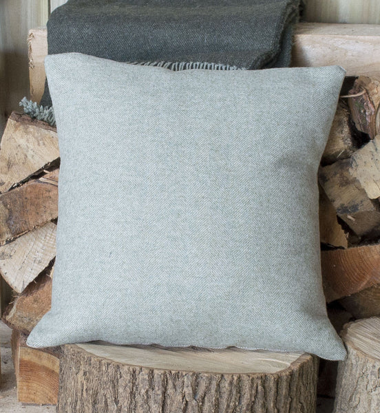 Spring Green Herringbone Tweed Cushion