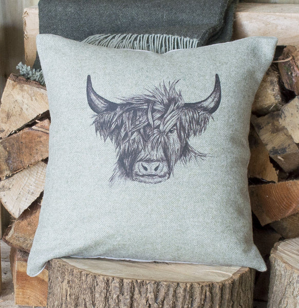 Spring Green Highland Cow Tweed Cushion