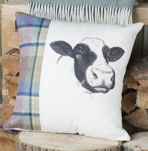 Spring Tweed Country Cow Cushion
