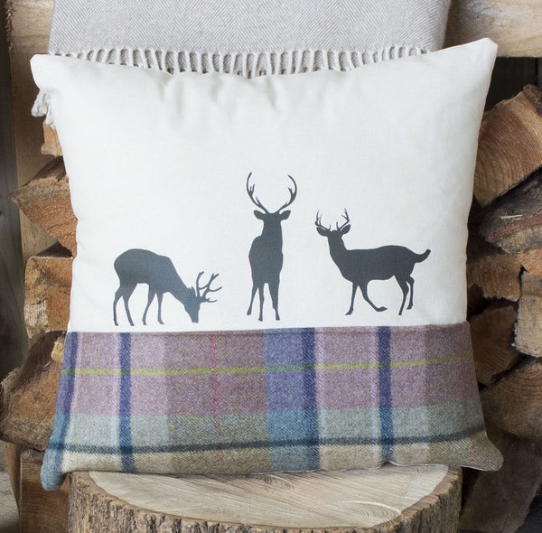 Spring Tweed ' Deer Family ' Tweed Cushion