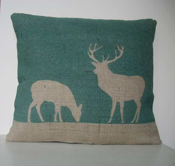 Hunter Green Stag and Deer Cushion