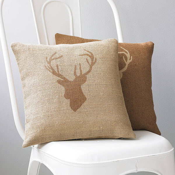 Stags head hessian cushion chestnut