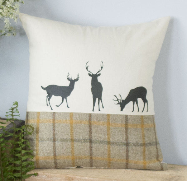 Summer Tweed Deer Family Cushion