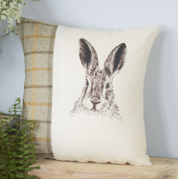 Summer Tweed Hare Cushion