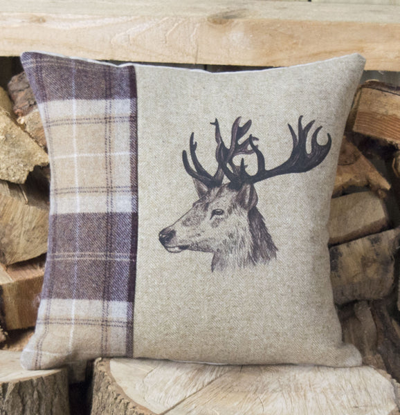 Mr Stag Tweed Cushion