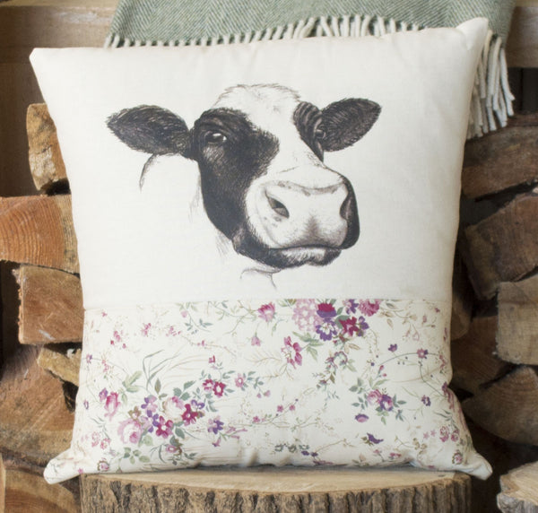 Vintage Floral Cow Cushion
