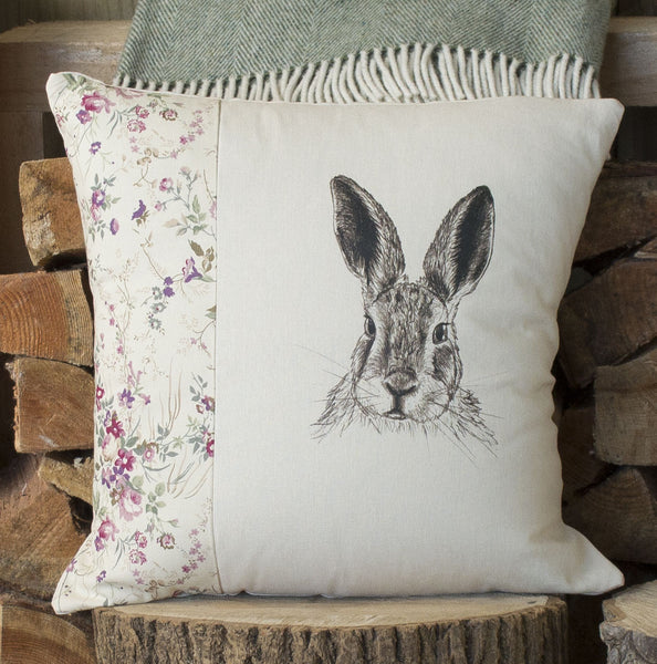 Vintage Floral Hare Cushion
