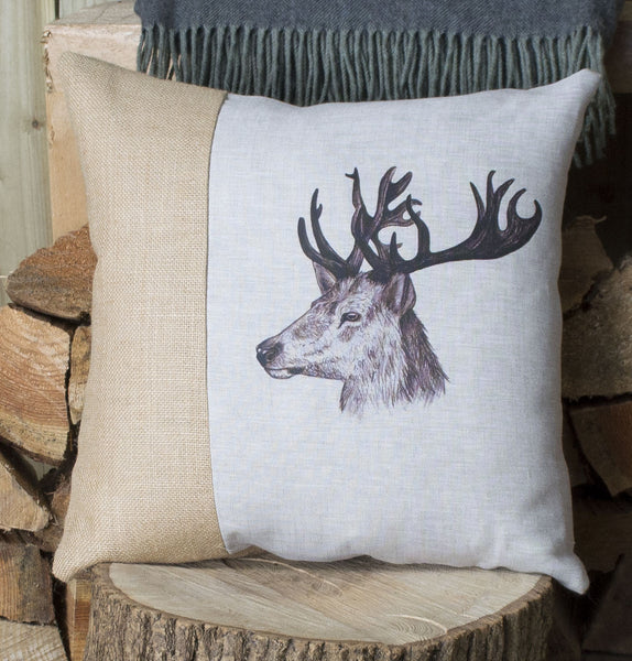 Vintage Stag Head Cushion