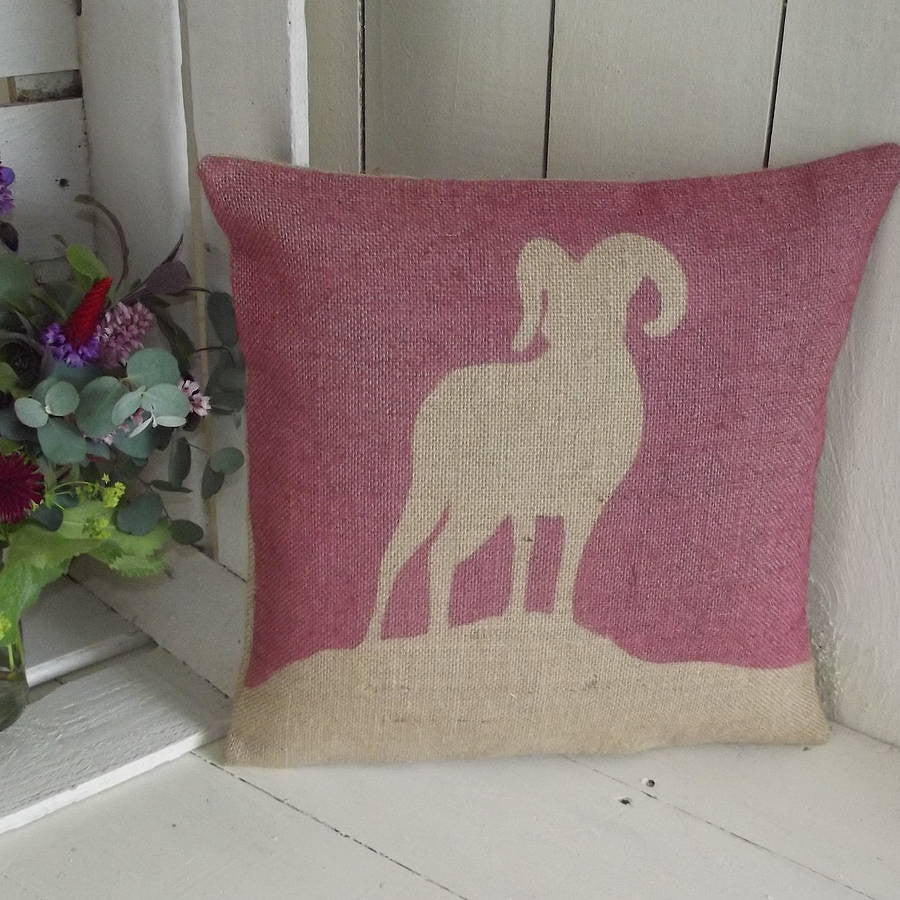 ' Mountain Goat ' Cushion (Cranberry Red)