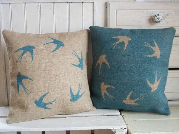 ' Soaring Swallows ' Cushions (Blue & Hessian)