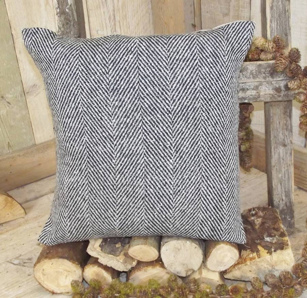 ' Black & White ' Tweed Herringbone Cushion
