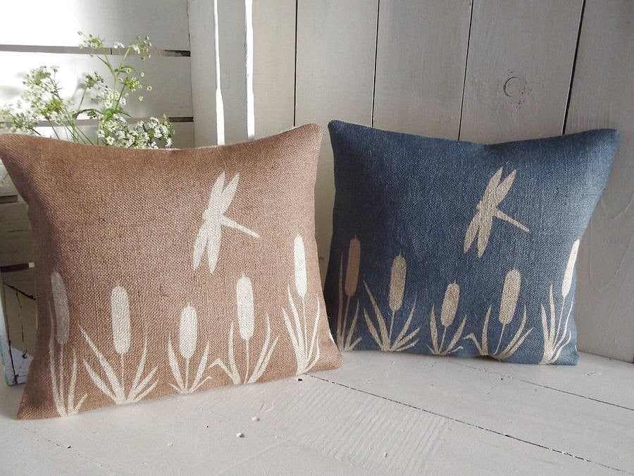 ' Dragonfly And Bulrush ' Hessian Cushion (Brown & Blue)