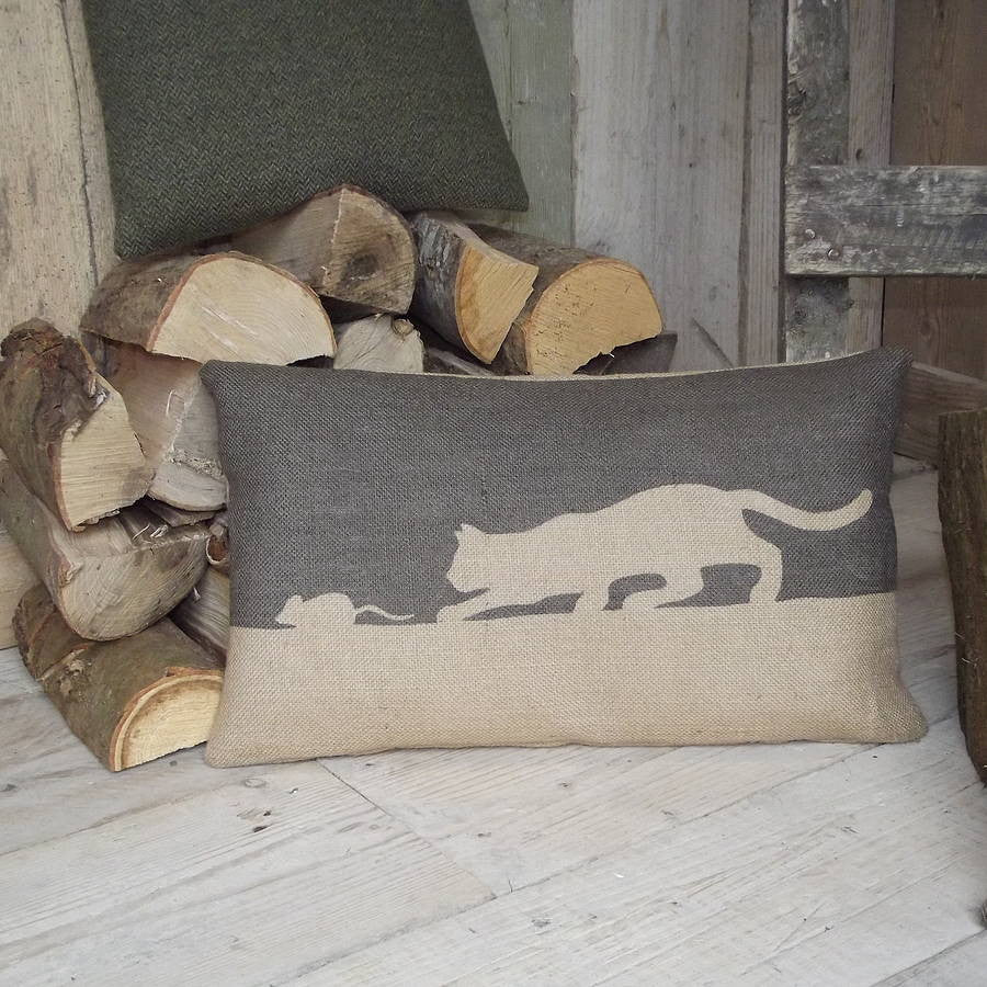 ' Cat and Mouse ' Cushion (Charcoal)