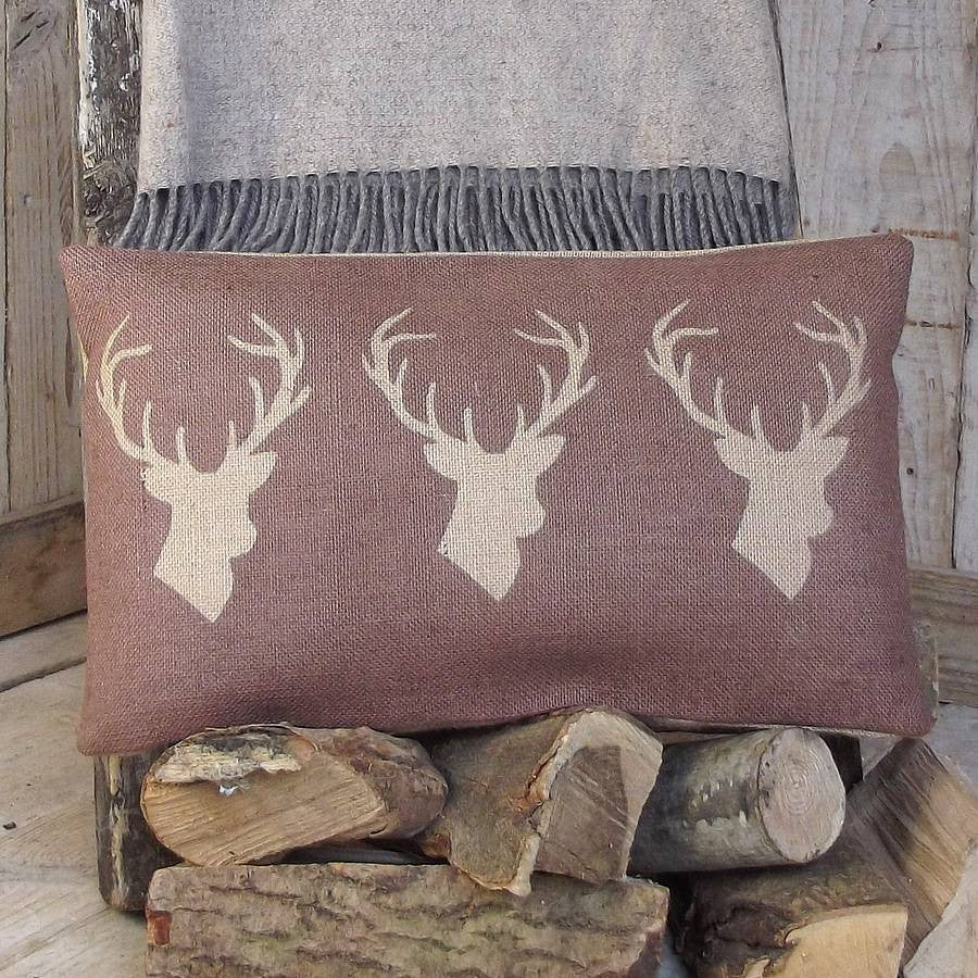 ' Chestnut Triple Stag ' Cushion