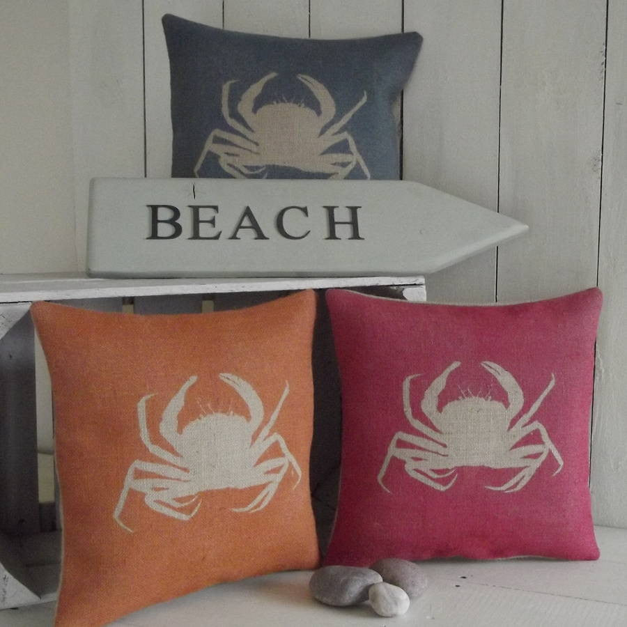' Crab ' Cushion (Blue, Orange & Red)