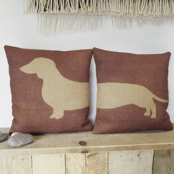 ' Daschund '  Pair Of Cushions (Chestnut Brown)