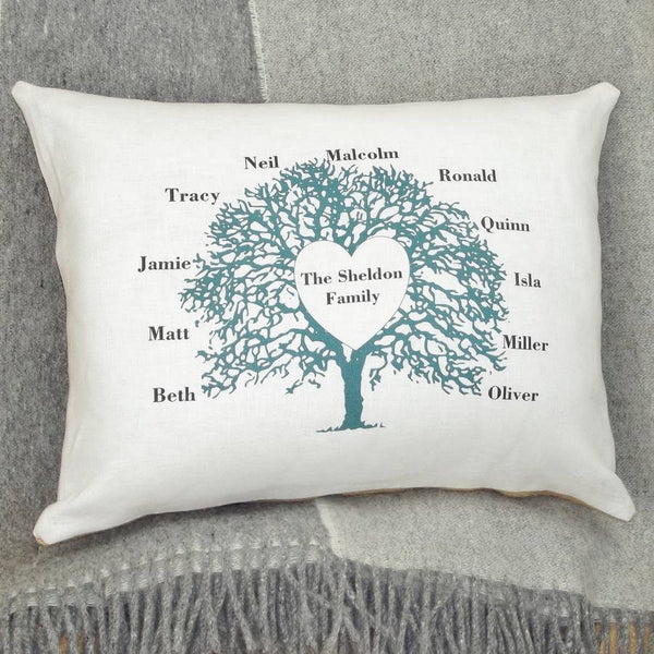 ' Family Tree Heart ' Cushion (Turquoise)