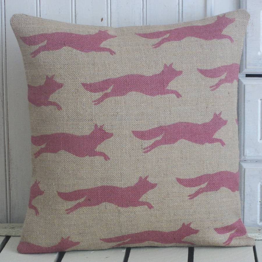 ' Flying Fox ' Hand Printed Cushion (Cranberry)