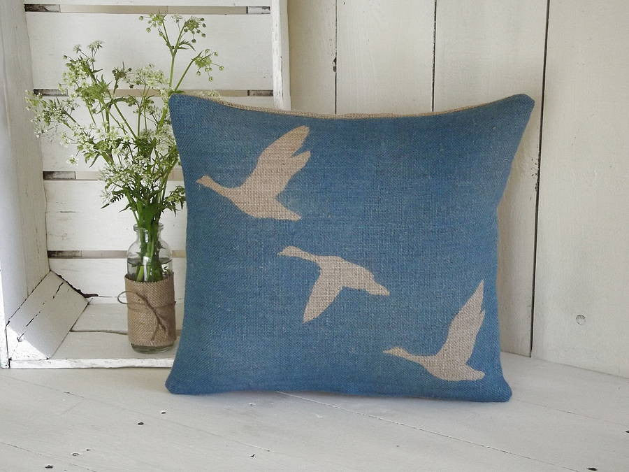 ' Geese In Flight ' Cushion (Blue)