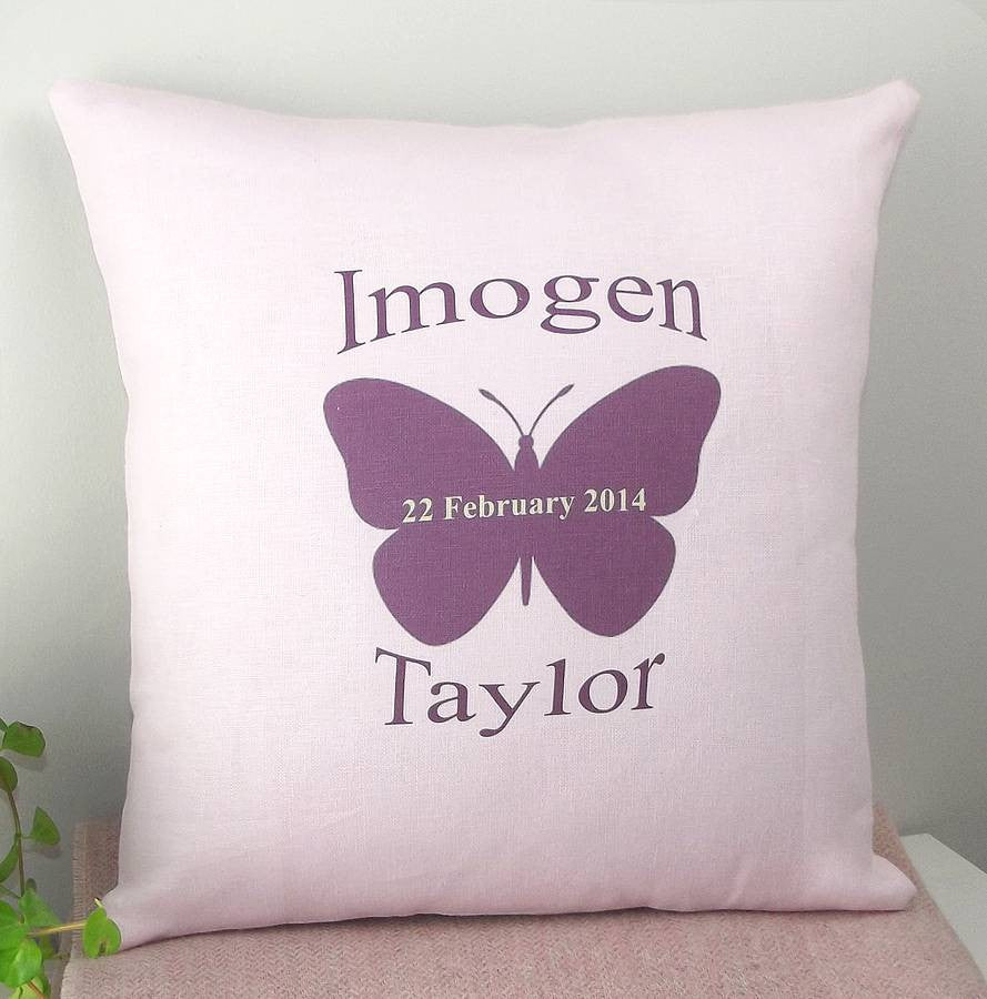 ' Girls Personalised Linen Butterfly ' Cushion