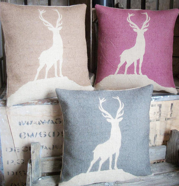 ' Highland Stag ' Cushion (Chestnut, Cranberry & Charcoal)