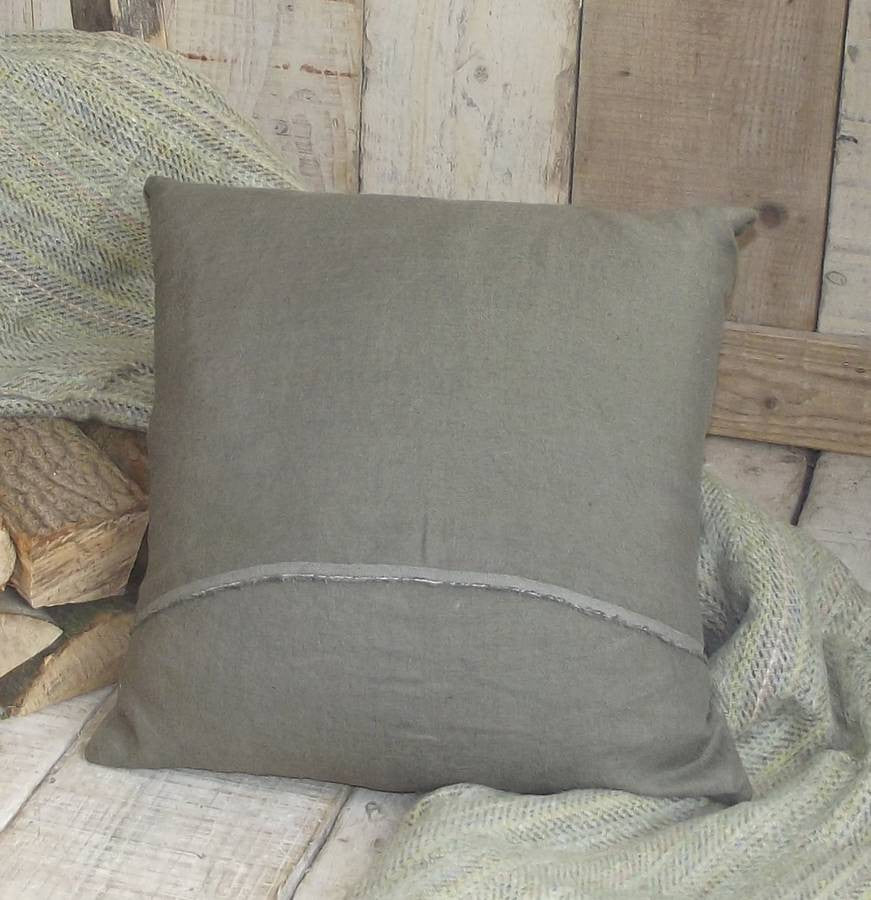 ' Khaki Luxury Irish Linen ' Cushion